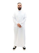 Islamic Impressions Men's Thobe With Collar - Full Sleeve - White