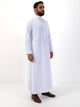 Mens Plain Thobe With Buttons & Collar - White