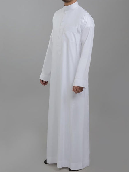 Genuine Al Aseel Saudi Thobe With Collar - Full Sleeve - White (Exposed Buttons) - Islamic Impressions