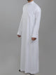 Genuine Al Aseel Saudi Thobe With Collar - Full Sleeve - White (Exposed Buttons)