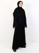 Womens Open Overcoat Abaya - Black With Paisley Design