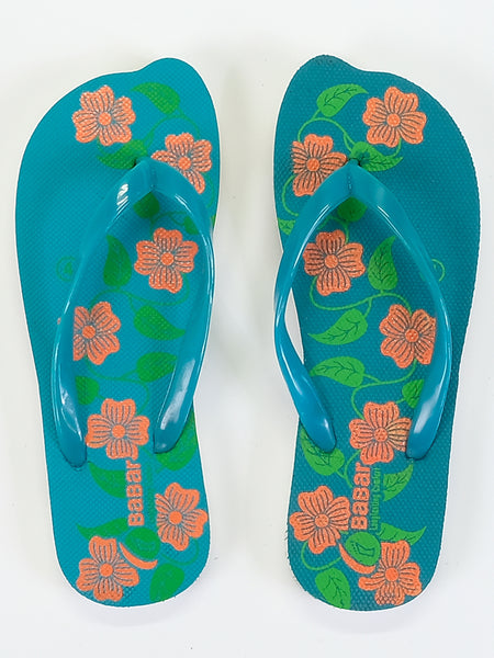 Women's Slippers - Babar - Flowers - Turquoise/Orange - Islamic Impressions