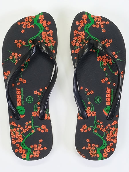 Women's Slippers - Babar - Floral Design Black/Orange/Green - Islamic Impressions