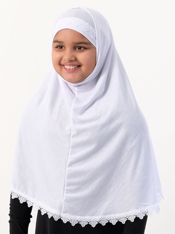 Girls Two Piece Hijab With Crochet (Turkish) - Islamic Impressions