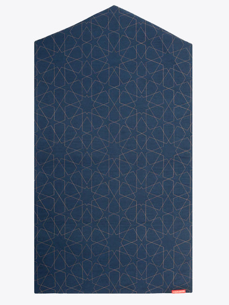 Prayer Mat - Visual Dhikr - Three Layer - Non Slip - Geometric denim arch-shaped - Islamic Impressions