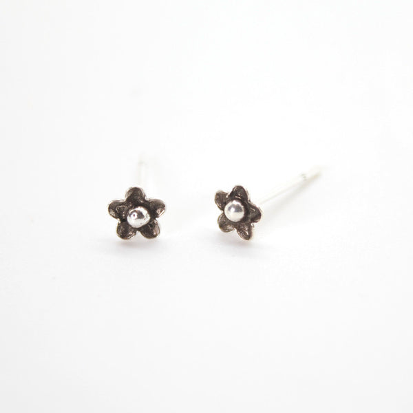 Silver Darling Flower Stud Earrings - 314
