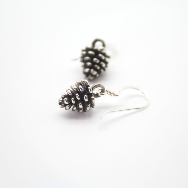 Silver Pine-cone Drop Earrings - 322