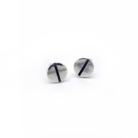 Silver Screw Stud Earrings > 403
