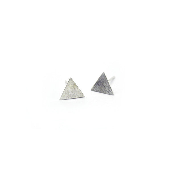 Silver Triangle Stud Earrings > 410