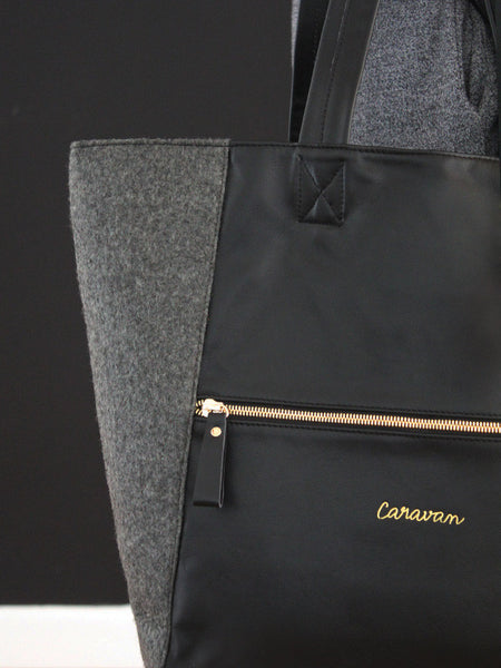 Carry-All Leather/Felt Bag > Rich Black