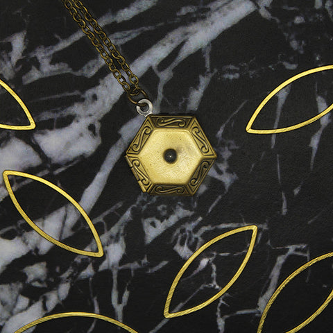 1501 Antique Hexagon Locket Necklace