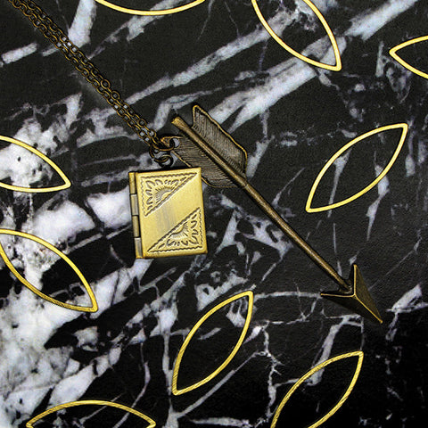 1502 Fortune Arrow & Book Locket Necklace