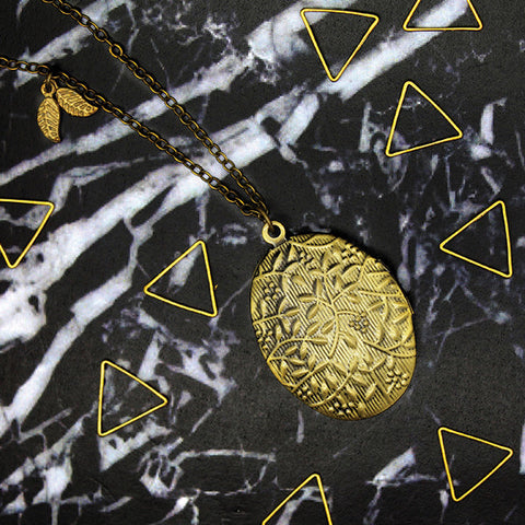 1510 Japanese Blossom Oval Locket Necklace