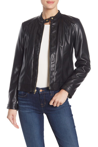 Banded Collar Faux Leather Zip Jacket