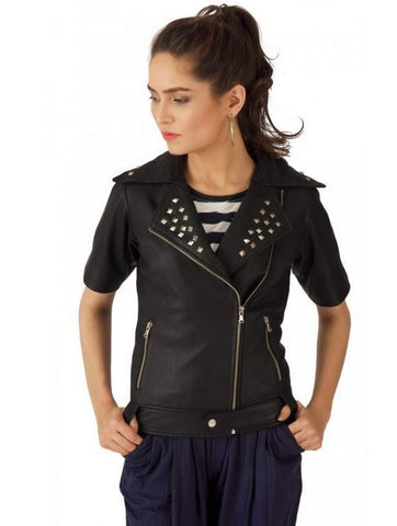 Black Studded Double Rider Leather Jacket