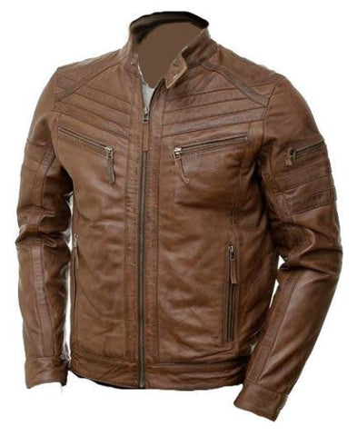Men's Brown Moto Style Genuine Leather Jacket