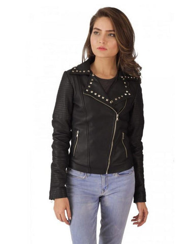 Handmade Studded Black Leather Biker Jacket