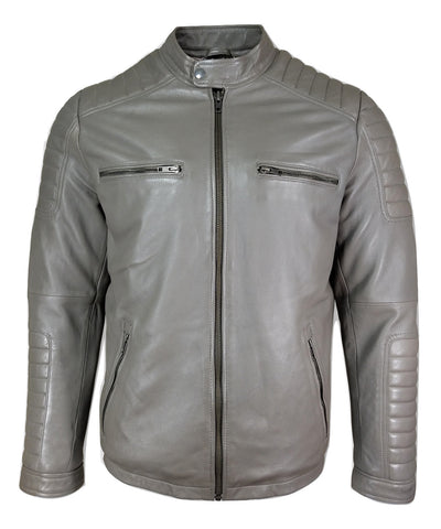 COVERED NECK SHINY WHITE LEATHER JACKET FOR MEN