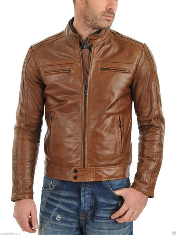 MENS GENUINE LEATHER JACKET SLIM FIT