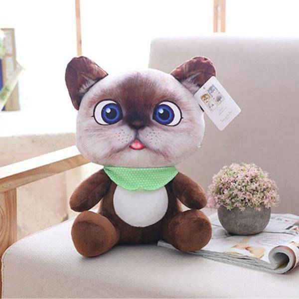 Peluche chat cartoon marron