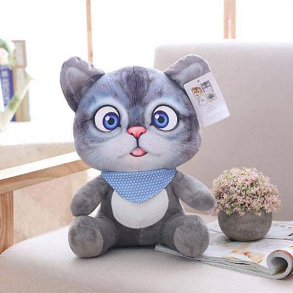Peluche chat cartoon gris