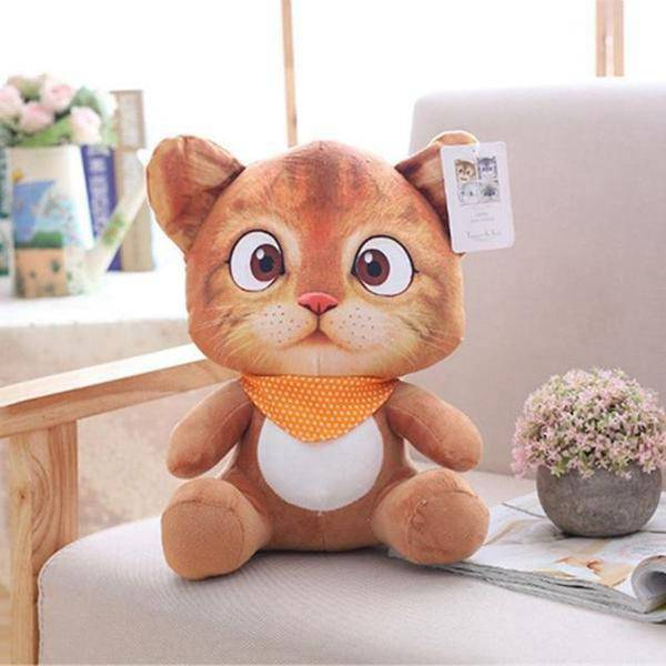 Peluche chat cartoon roux