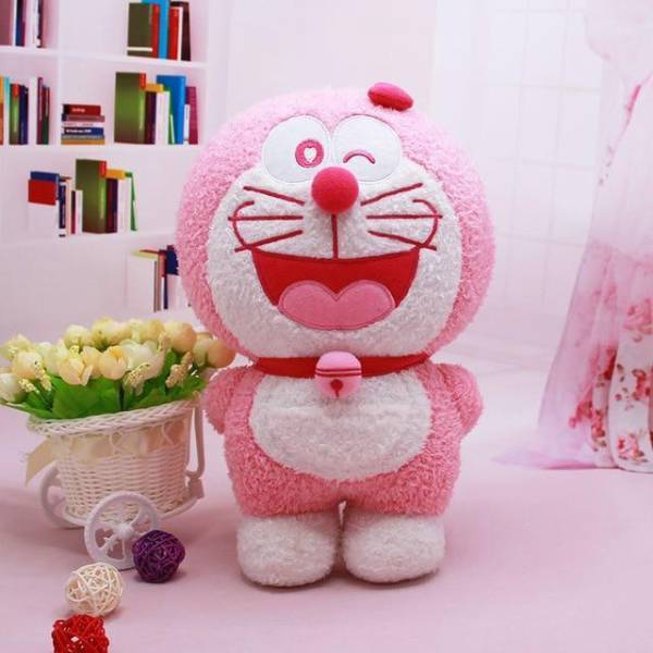 Peluche chat rose