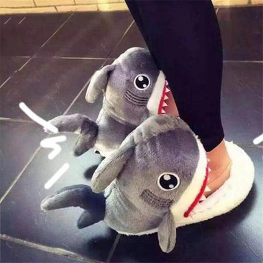 Chaussons requin gris