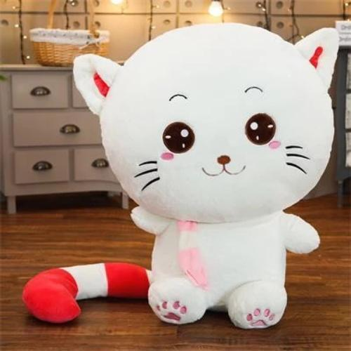 Peluche chat grand sourire
