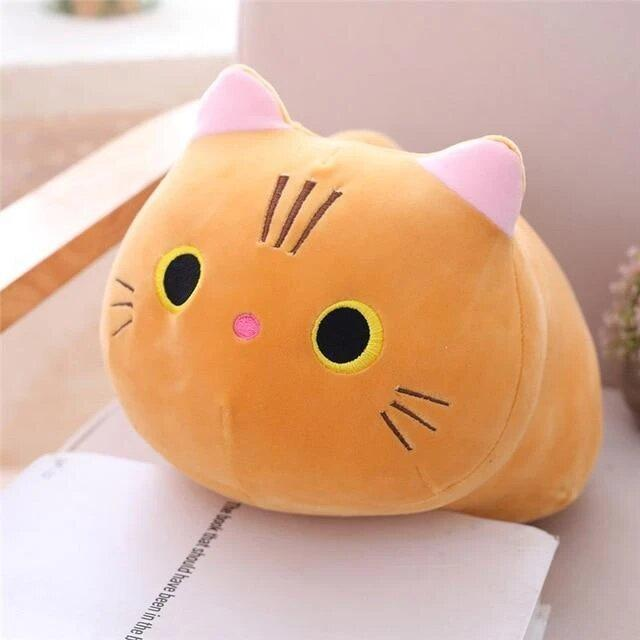Peluche chat oreiller orange