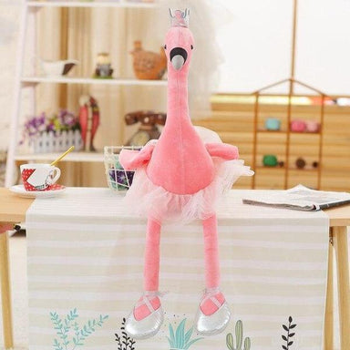 Peluche flamant rose couronne