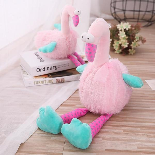 Peluche flamant-rose gros yeux