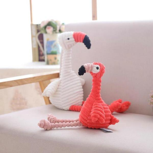 Peluche flamant-rose velours taille
