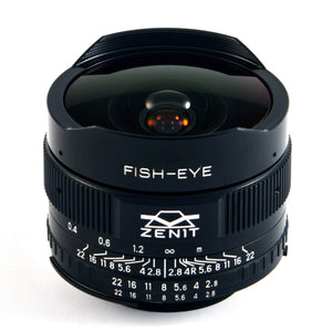 Zenitar 16mm f/2.8 Fish-Eye lens for m42 mount
