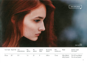 Page 2 from the catalog with specs on Zenitar 85mm and sample image of woman by Albert Khanumyan