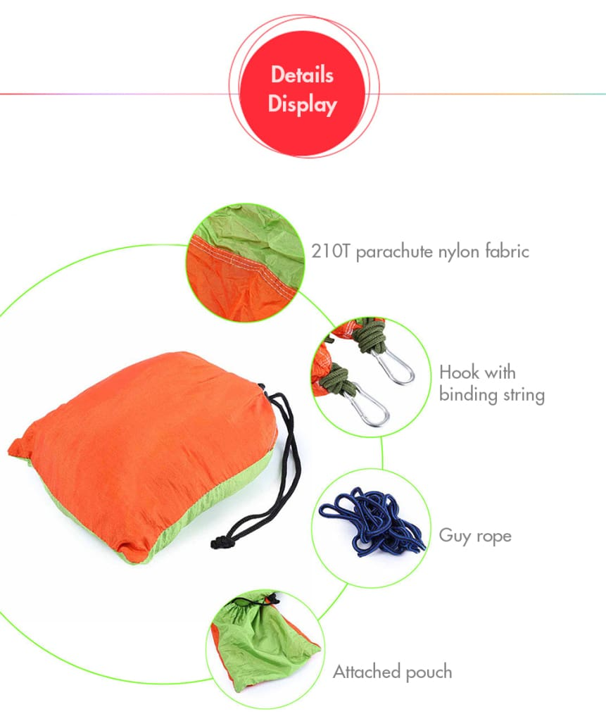 2 Person Hammock Assorted Color Portable Parachute Nylon Fabric for Indoor Outdoor Use