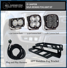 Load image into Gallery viewer, 2017+ Ford Raptor Stainless Steel Triple Fog Light Kit With Baja Designs Lights - NEO Garage
