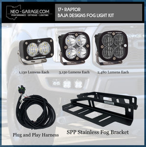 2017+ Ford Raptor Stainless Steel Triple Fog Light Kit With Baja Designs Lights - NEO Garage