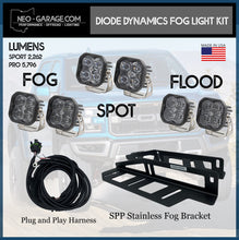 Load image into Gallery viewer, 2017+ Ford Raptor Stainless Steel Triple Fog Light Kit With Diode Dynamics SS3 Lights - NEO Garage