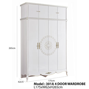 Oak Wood  4 Door Wardrobe