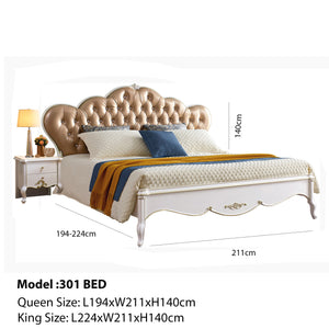European Style Solid Wood Bed Frame