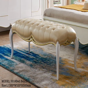 Large Top Upholstered Tufted Bed Bench