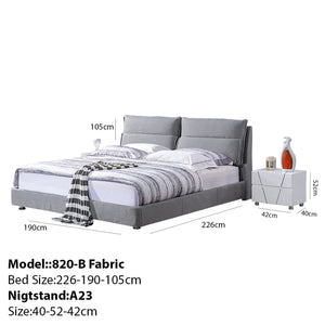 Pamela Upholstered Platform Bed with Nightstand