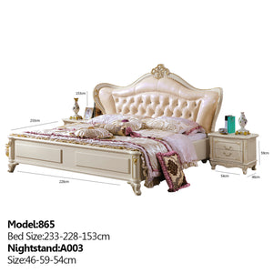 Roman Style Upholstered Panel Bed with Night Stand