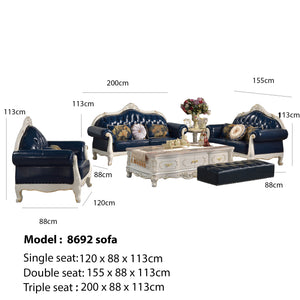 Deep Blue King Style Sofa Set