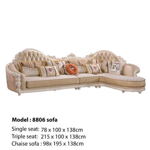 Golden Tufted Sofa  Chaise Bed