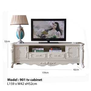 White Antiquate Style TV Cabinet III