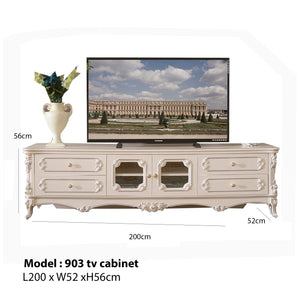 White Antiquate Style TV Cabinet