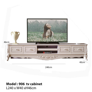 White Antiquate Style TV Cabinet IV