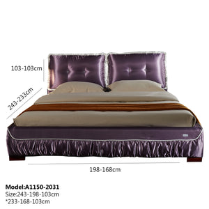 Upholstered Satin Fabric Bed
